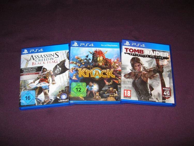 Sony PS4 Playstation 4 Games Spiele Tomb Raider Knack Assassins Creed